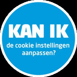 Blauwe cirkel met daarin een witte tekst: kan ik de cookie instellingen aanpassen?