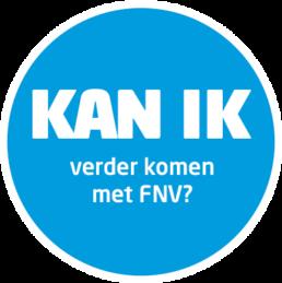 Blauwe cirkel met daarin een witte tekst: kan ik verder komen met FNV?